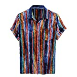 Dasongff Camisa de manga corta para hombre, corte regular, estampada, de lino, estilo hawaiano, para situaciones informales