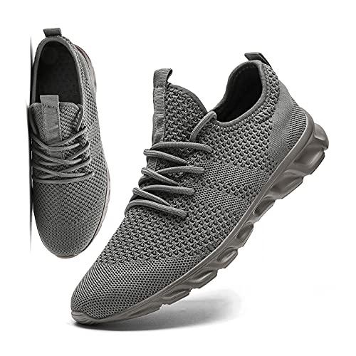 MGNLRTI Herren Schuhe Sneaker Laufschuhe Walkingschuhe Sommerschuhe Sportschuhe Straßenlaufschuhe Turnschuhe Fitnessschuhe Joggingschuhe Workout Freizeitschuhe Männer Running Shoes Gym Grau EU45