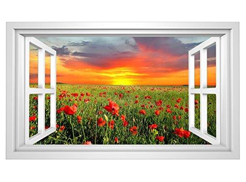 3D Wandmotiv Mohnblume Feld Blumen Fenster Bildfoto Wandbild Wandsticker Wandtattoo Wohnzimmer Wand Aufkleber 11E358, Wandbild Größe E:98cmx58cm