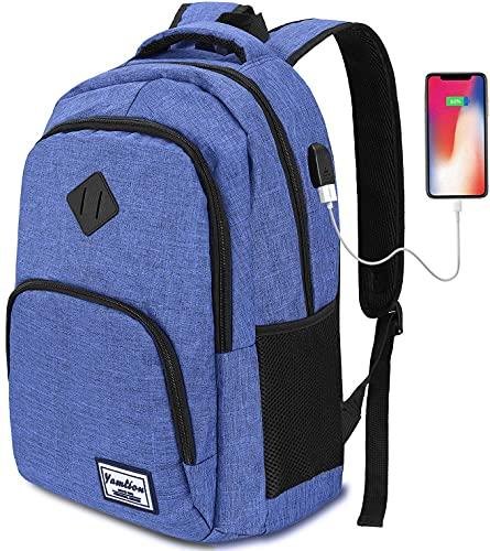 YAMTION Zaino Adolescente per Superiore e università,Zaino con Presa Ricarica USB per PC Portatile 15.6 Pollici