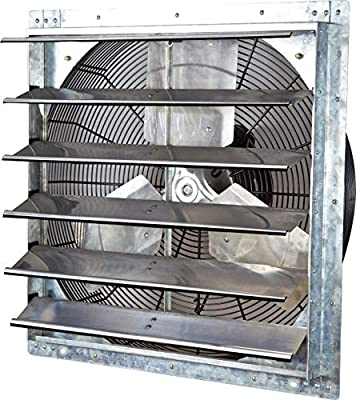 """iLiving - 24"""" Wall Mounted Exhaust Fan - Automatic Shutter - Variable Speed - Vent Fan For Home Attic, Shed, or Garage Ventilation, 4244 CFM, 6200 SQF Coverage Area"""