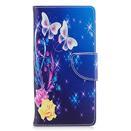 Sony Xperia XA1 Hülle, SONWO Schlanke Flip PU Leder Flip Brieftasche Schutzhülle Hülle mit Stand, Magnetverschluss für Sony Xperia XA1, Blaue Blume