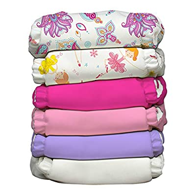 Charlie Banana Baby 2-in-1 Reusable Fleece Cloth Diapering System, Reusable and Washable, 6 Diapers and 12 Inserts, Girly, One Size from Charlie Banana
