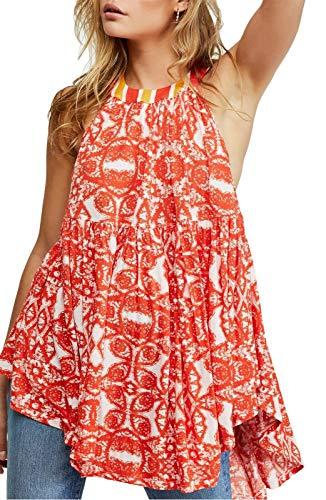 Free People Mimi Tunic Top (Orange, M)