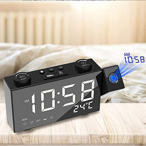 Mubgo Wandklokken LCD digitale projectiewekker radio gestuurde radiografische wekker multifunctioneel station tafelklok met datumwekker Snooze