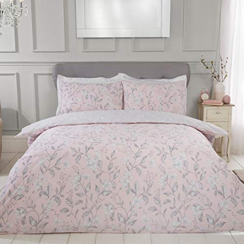 Sleepdown Etched Floral Blush Reversible Easy Care Duvet Cover Quilt Bedding Set with Pillowcases - Double (200cm x 200cm)