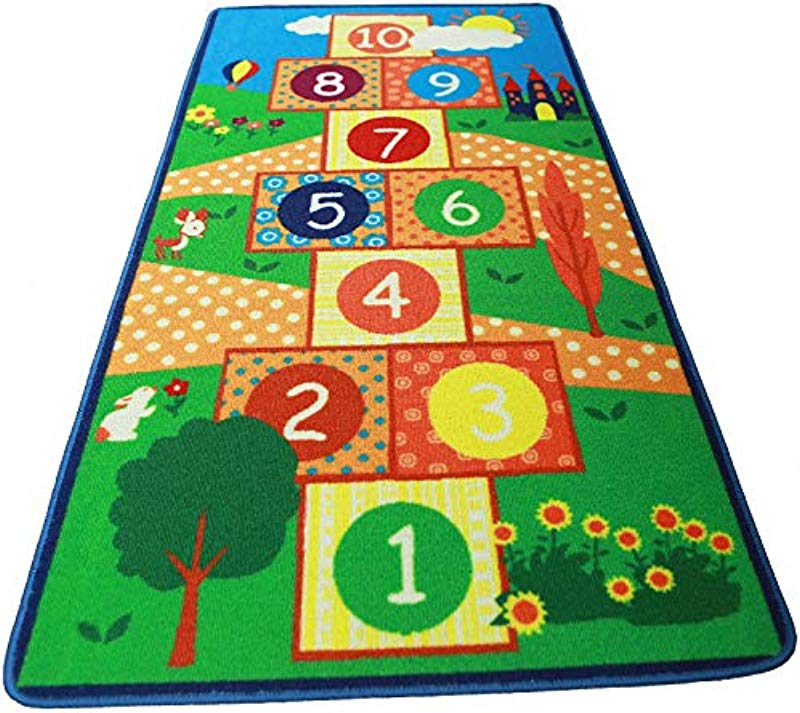 HUAHOO Hopscotch Kids Rug Bedroom Blue Boy Children Carpet Girls Bedroom Playroom Play Mat School Classroom Learning Carpet Educational Rug Blue