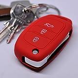 Key Soft Case Cover Funda Protectora Llave del Coche Hyundai i10 i40 ix35 Santa Fe Sonata Tucson Llave Plegable/Color: Rojo