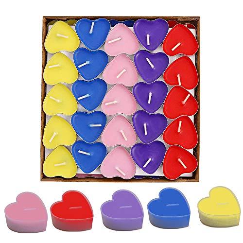 SIMUER 50 Pack Velas Smokeless Decor,Vela en Forma de Amor para Bodas, Cumpleaños, Fiesta, Halloween, Navidad, Festival (Rojo Rosa Amarillo Púrpura Azul)