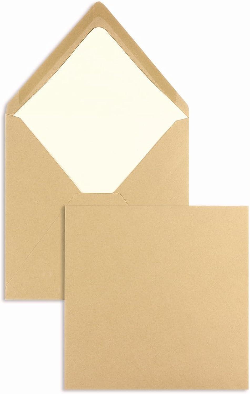 Farbige Briefhüllen   Premium   164 x 164 mm Braun (100 Stück) Nassklebung   Briefhüllen, KuGrüns, CouGrüns, Umschläge mit 2 Jahren Zufriedenheitsgarantie B01CSFCS4U | Spezielle Funktion