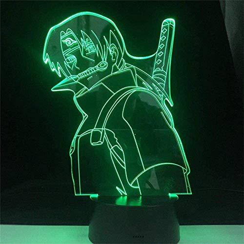 Lámpara de luz nocturna 3D Naruto con control remoto de 16 colores cambiantes, decoración del dormitorio, regalo creativo de cumpleaños de Navidad para hombres, niños y amigos