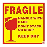 FRAGILEステッカーは介護ハンドルラベル梱包注意ステッカーラベル/パックのラベルのステッカーをパッケージング10の* 10センチメートル500個 (Color : Yellow, Size : 10X10cm)