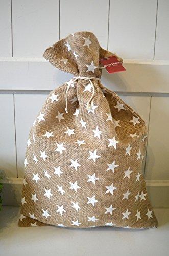 HKC Home Deco Jute-Sack Geschenke-Sack Nikolaus-Sack Weihnachts-Sack Beutel Tasche Tüte Jute Sterne ca. 35cm x 50cm Nikolaussack Geschenkesack Jutesack