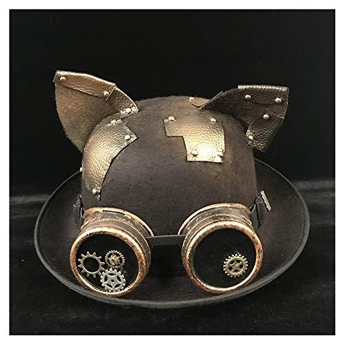 Moda Steampunk Sombrero Hombres Mujeres Bowler Women's Hat Gear Gafas Topper Sombrero de Copa Fedora Billycock Novio Jazz Sombrero del oído Suave (Color : Gold BLB, Size : 57-58CM)