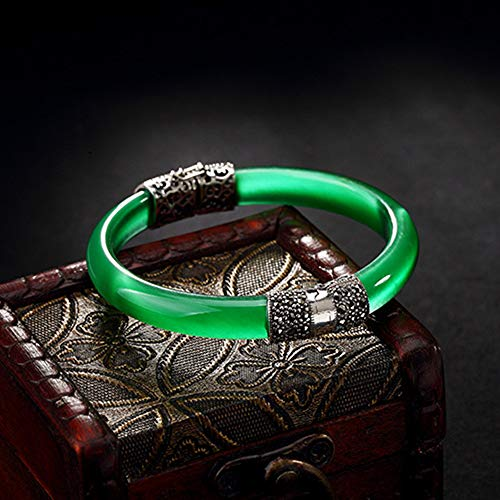 Serired Armband,Natürliche Jade S925 Sterlingsilber Frauen Mode Schmuck Jadeit Eröffnung Armreif Armband