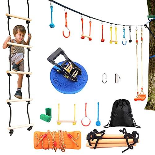 Slackline Kinder Anfänger | Slagline Set mit Monkey Bar, Leiter, Schaukel und Turnringe für Outdoor | Ninja Climbing Training Gymnastick Set für Jungen und Mädchen ab 5 Jahren (Ninja Slackline Set)