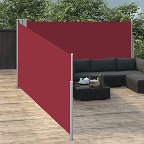 Tidyard Ausziehbare Seitenmarkise Sonnenschutz Sichtschutz Windschutz Seitenrollo Markise Seitenwandmarkise Balkon Garten Terrasse Rot 140 x 1000 cm