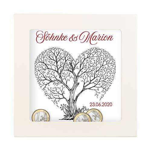 Geschenke 24 3D Bilderrahmen zum Befüllen – Personalisiertes Geldgeschenk für Paare – kreative Verpackung für Geldgeschenke Hochzeit – Hochzeitsgeschenke, Verlobung, Polterabend, Jubiläum (25 x 25 cm)