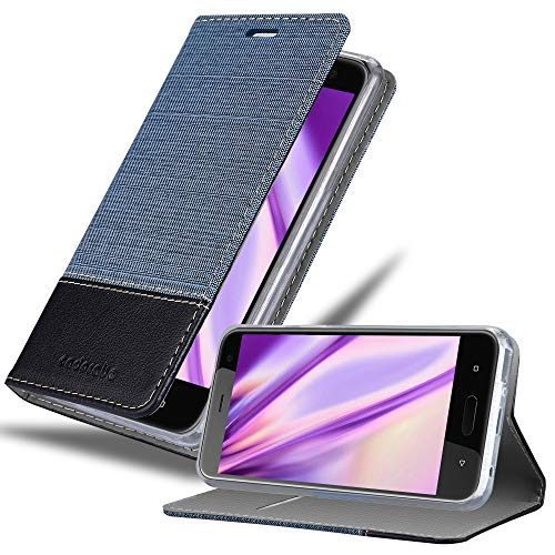 Cadorabo Hülle für HTC U11 Life - Hülle in DUNKEL BLAU SCHWARZ – Handyhülle mit Standfunktion & Kartenfach im Stoff Design - Hülle Cover Schutzhülle Etui Tasche Book