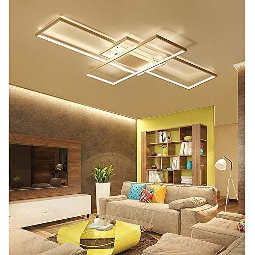 LED Deckenleuchte Wohnzimmer lampen Dimmbar Deckenlampe Hängeleuchte Modern Eckig Designer Fernbedienung Leuchen Metall Acryl Schirm Decke Wohnzimmerlampe Esszimmerlampe Esstischlampe Badlampe (Weiß)