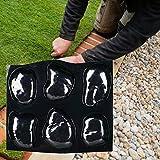 libelyef Moldes de hormigón, molde de piedra de río 6 grandes piedras de moldeo bandeja de piedras para escalones de césped para parrilla de césped, pavimento, tabla de acera, decoración de losa de suelo