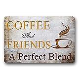 Norma Lily Coffee and Friends - Felpudo de Bienvenida con una Mezcla Divertida, no Tejido, para Interiores y Exteriores, 30 x 18 Pulgadas