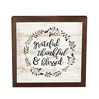 Grateful Thankful Blessed Laurel Wreath 11 x 11 Inch Solid Pine Wood Farmhouse Frame Wall Plaque