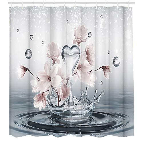 Duschvorhang, Blumenmotiv, dekorativ, maschinenwaschbar, strapazierfähig, Polyester, 183 x 183 cm