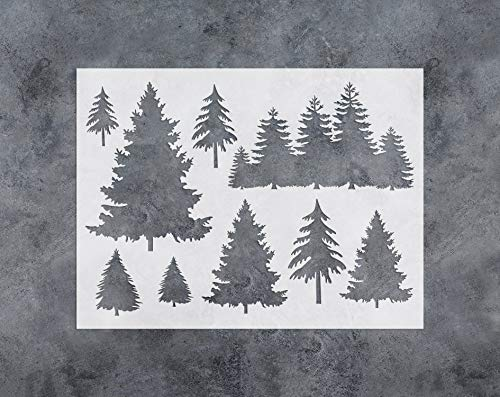 GSS Designs Tree Decor Stencil - Large Tree Stencil (12x16 Inch) for Painting & Craft - Window Wall Furniture Fabric Wood Stencils -Reusable Template(SL-031)