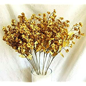 LINESS for 12 Baby's Breath Artificial Gypsophila Silk Wedding Flowers Centerpieces Faux DIY LINESS for Wedding Flowers, Petals & Garlands Floral Décor – Color is Gold