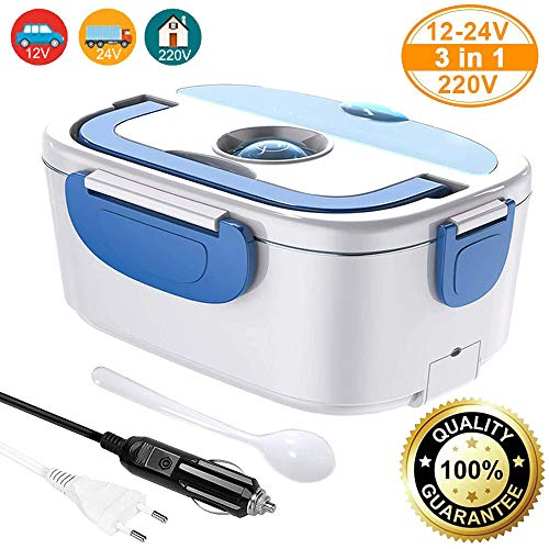 COOLAPA 12V 24V 220V 40W 3-in-1 Electric Lunch Box for Cars/Trucks and Work,Food Warmer Warming Box 304 Stainless Steel, 1.5L Portable Heater Meal Container Bento Heater