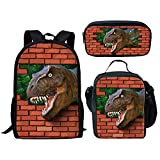 INSTANTARTS Carcharodontosaurus Shoulder Bag Primary School Backpack Dinosaur Lunch Case Pen Box