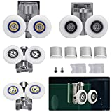 TANCUDER 2 Pairs Twin Shower Door Rollers Runners Zinc Alloy Shower Door Wheels Shower Door Fixing Pulleys in Chrome 26mm Wheel Diameter Top Bottom Bathroom Replacement Parts Fits Glass 6-8mm