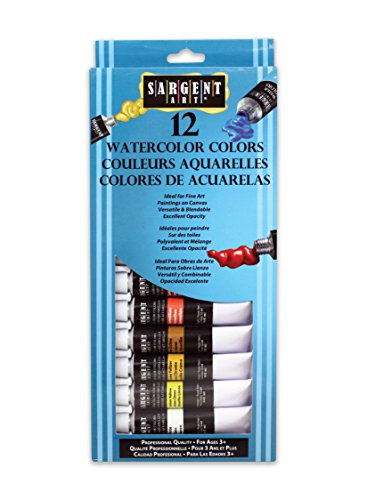 Sargent Art 23-0701 12-Count Tube Watercolors Set, Premium,Assorted