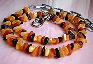 AMBERMILANA Dog Amber Collar Necklace/for Large Dogs / 18-22 inch (46-56cm) / Natural Pet Prevention/Certified Raw Unpolished Baltic Amber