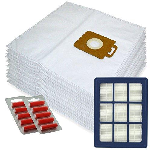 Spares2go Sacs d'Chiffon de nettoyage en microfibre + H12 Filtre HEPA pour Nilfisk Power P40 + Allergy Aspirateur (lot de 10 + cartouche de filtre + désodorisants)