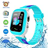 Jsbaby Kids Smartwatch Waterproof GPS/LBS Tracker Phone Compatible iOS Android for Children 3-12 Girls Boys SOS Call Remote Camera Two Way Call Touch Screen Games Christmas Birthday (Blue)