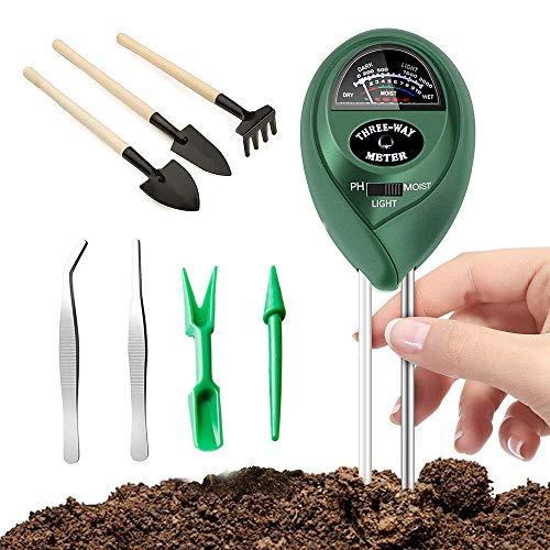 Lifreer - Medidor de humedad del suelo, 8 piezas de herramientas bonsai con sensor de humedad 3 en 1, medidor de humedad del suelo, medidor de humedad para árbol de bonsái
