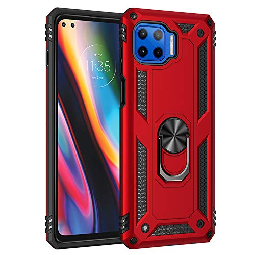 BestST Funda para Motorola Moto G 5G Plus/One 5G con Anillo Soporte,+ HD Protectores de Pantalla,2in1 Dura PC + Suave TPU Silicona Carcasa Híbrido Armadura Bumper Case Cover,Rojo