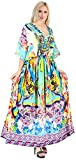 LA LEELA Women's Caftan Dress Sleepwear Tops Swim Cover UP US 14-22W Multi_A968