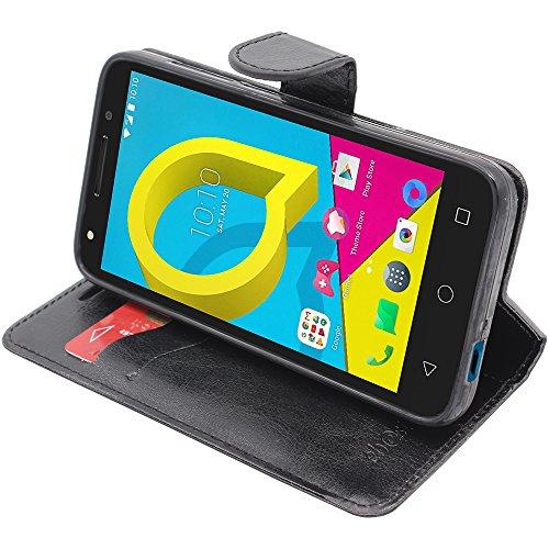 ebestStar - kompatibel mit Alcatel U5 Hülle U5 Kunstleder Wallet Hülle Handyhülle [PU Leder], Kartenfächern, Standfunktion, Schwarz [Phone: 140.7 x 71.8 x 10mm, 5.0'']