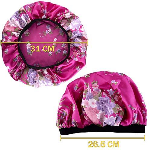 Duufin 6 Pcs Sleep Caps Satin Night Sleep Cap Bonnet Hair Loss Cap Salon Bonnet for Women, 6 Colours