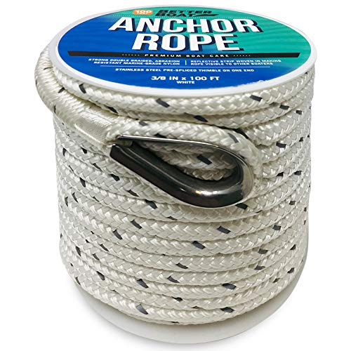 Premium Anchor Rope Double Braided Boat Anchor Line 100 ft White Marine Grade 3/8 Rope