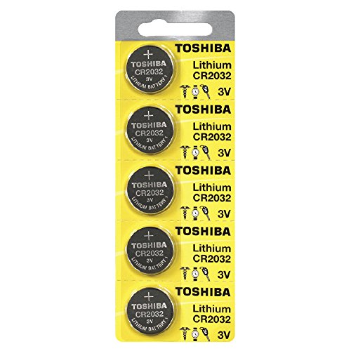Price comparison product image Toshiba CR2032 Battery 3V Lithium Coin Cell (5 Batteries)