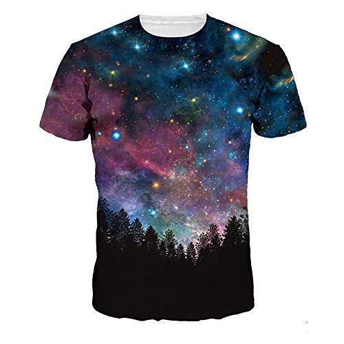 Men's 3D Printed Round Neck Casual Hip-hop Funky Short Sleeve Tshirts Unisex Starry Sky-StarrySky-XXXL