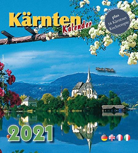 Calendario de pared y mesa Kärnten 2021 con espiral, 18 x 20 cm, calendario mensual en 4 idiomas (DE, EN, FR, IT) con 16 recetas de cocina Kärntner