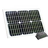 Panneau solaire 20W 12V avec contrôleur de charge 10A - pour batterie 12V, camping-car, camping, bateau, hangar