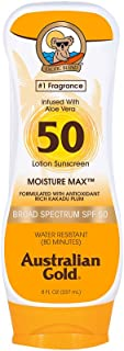 Australian Gold Sunscreen Lotion SPF 50, 8 Ounce   Moisture Max   Infused with Aloe Vera   Broad Spectrum   Water Resistant
