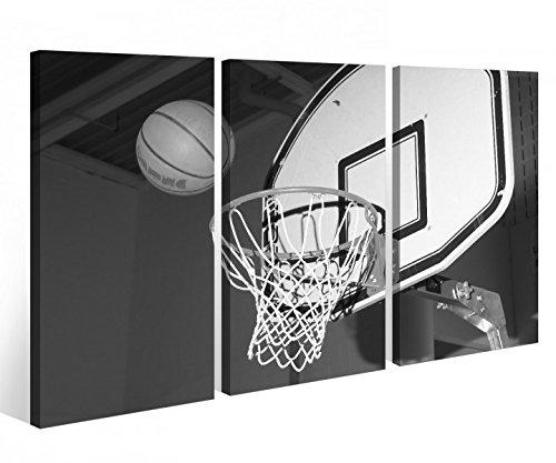 Leinwandbild 3 Tlg. Sport Basketball Ball Korb Leinwand schwarz weiß Bild Bilder Holz fertig gerahmt 9R827, 3 tlg BxH:90x60cm (3Stk 30x 60cm)
