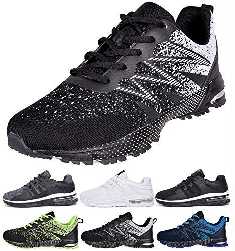 Zapatillas de Deporte Hombres Running Zapatos para Correr Casual Gimnasio Sneakers Deportivas Padel Montaña Transpirables (Negro,40EU)